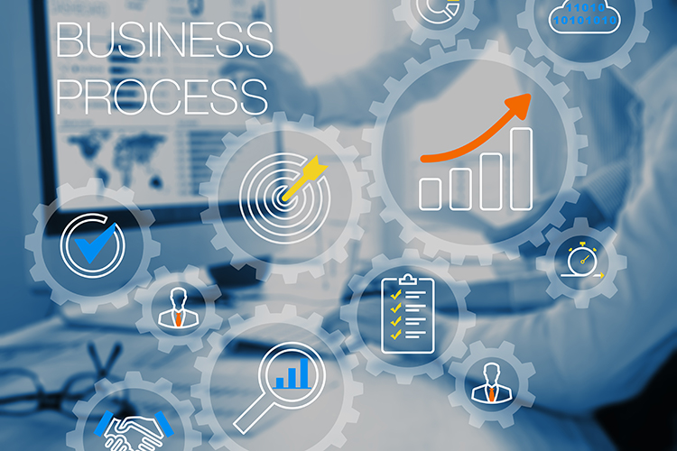Business process management and automation technology concept with gears system or workflow and consultant team working on computer in office in background, automated ERP, CRM or financial tasks