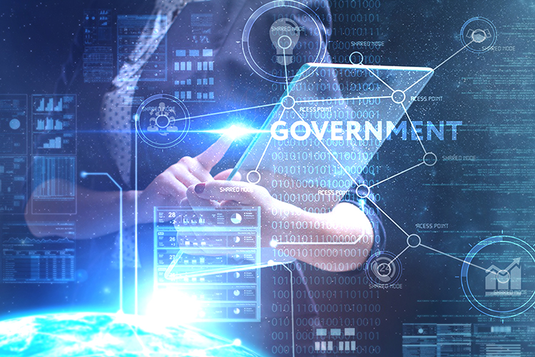 The concept of business, technology, the Internet and the network. A young entrepreneur working on a virtual screen of the future and sees the inscription: Government