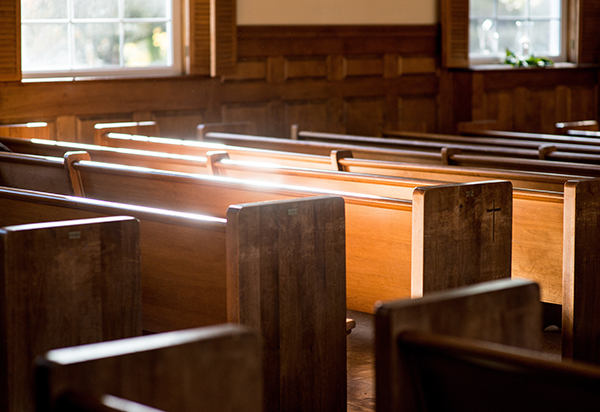 Church Pews in the Sunlight